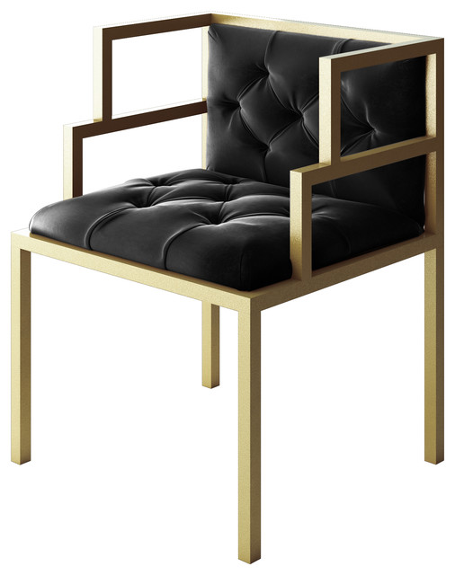 oscar modern gold gold metal contemporary chair black leather seat modern armchairs and. Black Bedroom Furniture Sets. Home Design Ideas