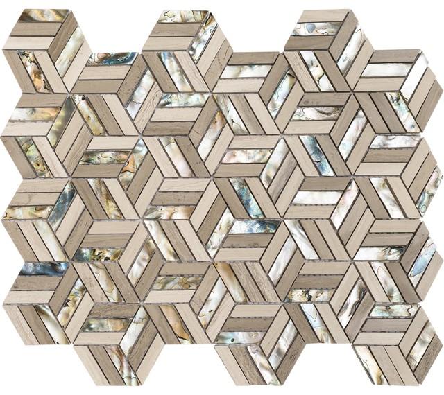 "11.76""x11.76"" Hexagon North Shore Mosaic, Set Of 4, Black Sand Beach"