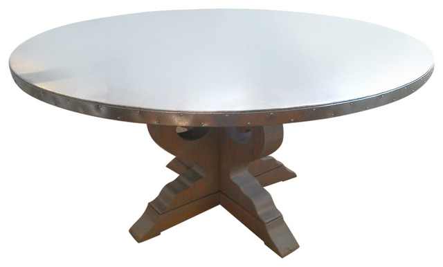 Charming Round Lob Table With Galvanized Metal Top Dining Tables