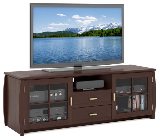 "Washington 59"" Wood Veneer Tv And Component Bench."