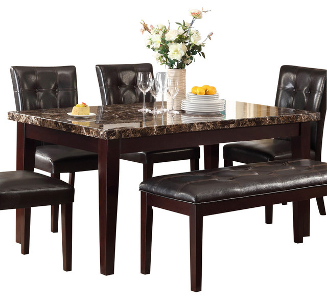 Homelegance Teague Faux Marble Dining Table in Espresso ...