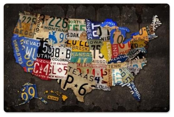 License Plate Usa Board Metal Sign, 24&x27;&x27;x16&x27;&x27;.