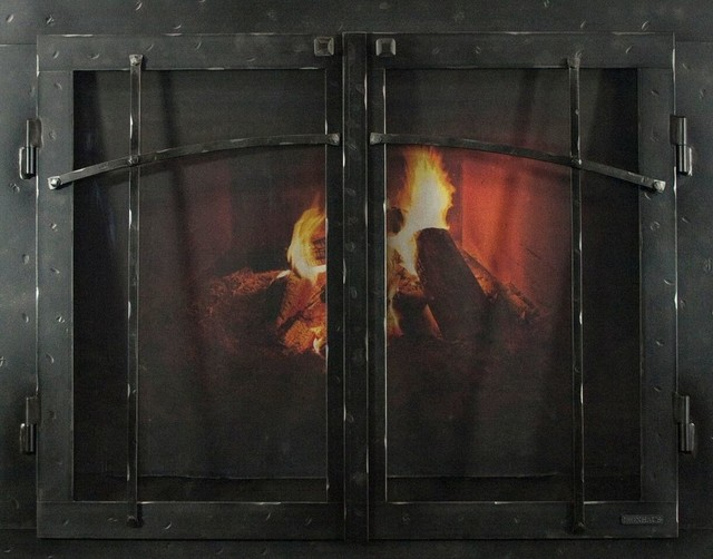 "Iron Fireplace Glass Door With Gate Mesh, 2 1/2"" Frame, Natural Finish, 38""x28""."