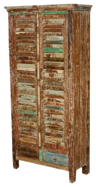 Rustic Shutter Door Reclaimed Wood Armoire Wardrobe Cabinet Rustic