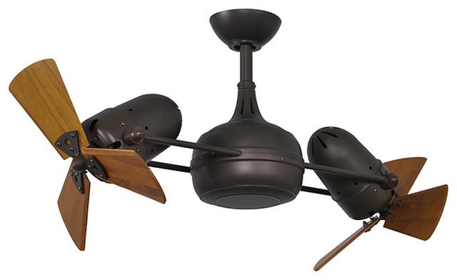 Matthews Dagny Double Head Rotational Ceiling Fan Textured Bronze With Wooden B