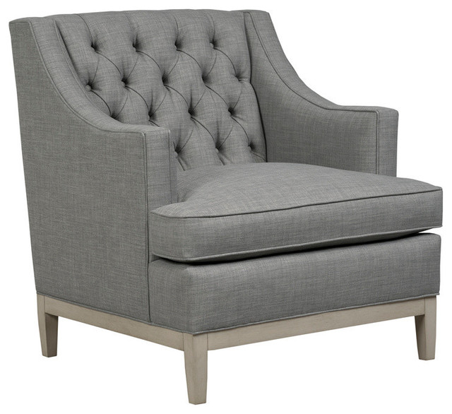 Carmel Button Tufted Back Chair Gray Transitional