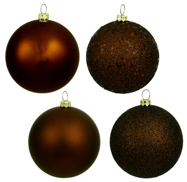 6 Chocolate Brown Shatterproof 4 Finish Christmas Ball Ornaments