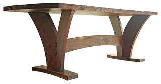 Dining Table, Modern With Walnut Slab