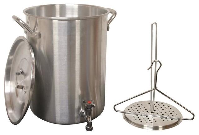 30 Qt. Aluminum Tukey Pot W Spigot-Lid, Lifting Rack, Lifting Hook.