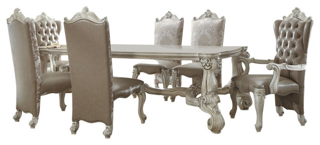 Versailles Bone White Finish 96 Formal Dining Room Table Set 7 Piece Victorian