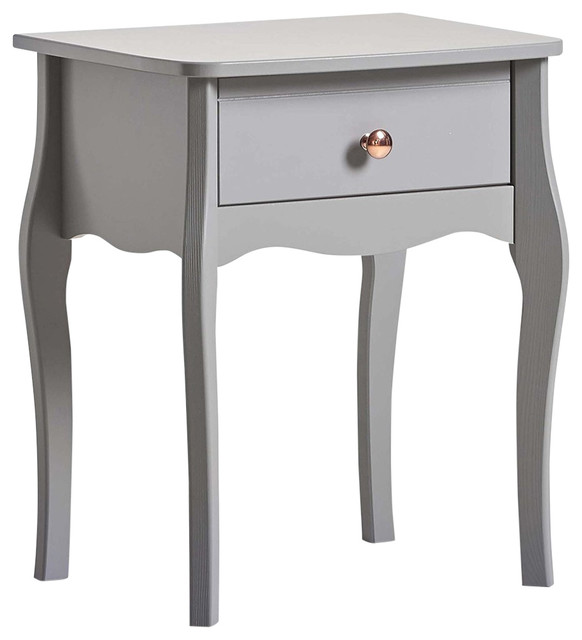 2372040dc2 Bedside Table, Grey Finished Wood With Curved Legs, Gold Handles and 1- Drawer - Traditional - Nightstands And Bedside Tables - by Decor Love
