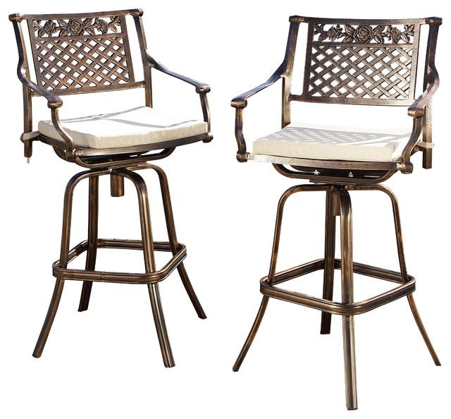 Sierra Outdoor Cast Aluminum Swivel Bar Stools With Cushions, Set Of 2.