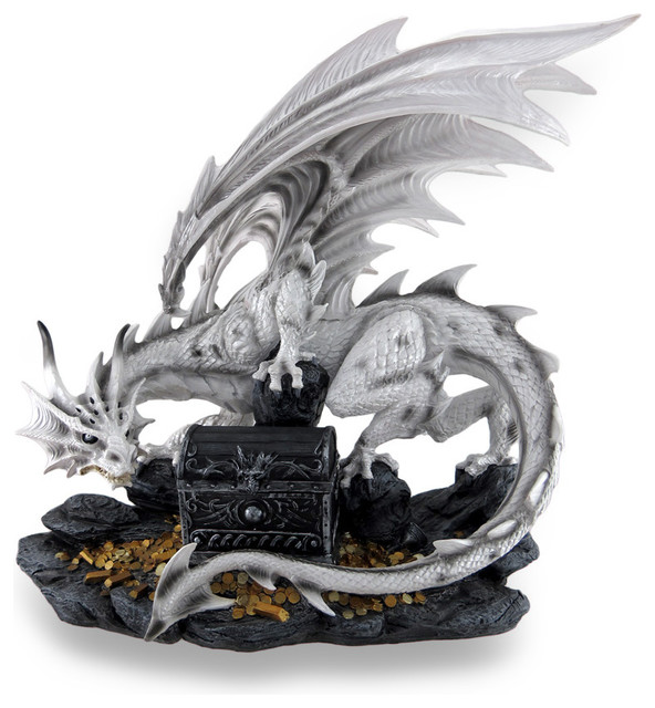 White horned dragon guarding treasure chest stash box statue 20 traditional jewelry boxes - Guarding dragon accent table ...