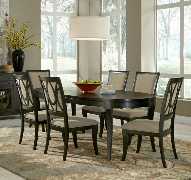 Brussels Traditional Dining Room Set 7 Piece Set: 7-piece Aura Oval Leg Dining Room Set, Samuel Lawrence