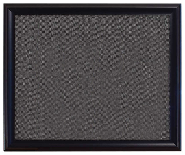 "Bulletin Boards 36""x30"", Sutton Black Frame With Pewter Fabric"