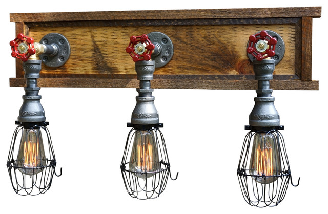 Early Country Vanity 3 Light W Wire Cages Industrial Bathroom Vanity Lighting By Loft Essentials