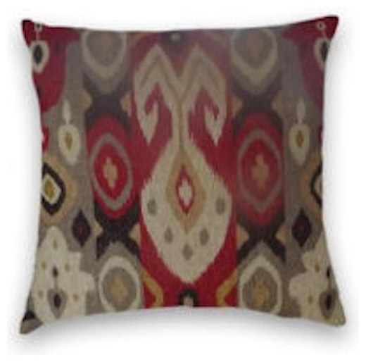 Red Gold Gray Abstract Ikat Throw Mediterranean Decorative Extraordinary Grey And Gold Decorative Pillows