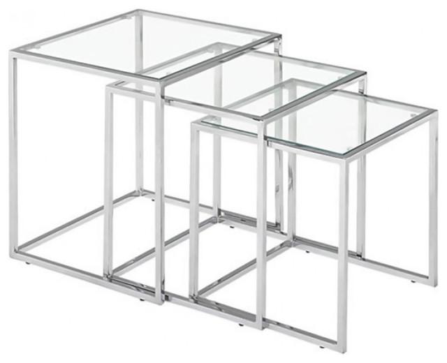 Zuo Pasos Modern Nesting Tables, Chrome, 3-Piece Set.