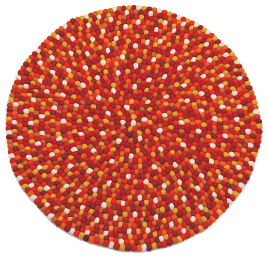 "Lilipinso ""Karma Spicy"" Red Felted Wool Ball Rug, 90 cm"