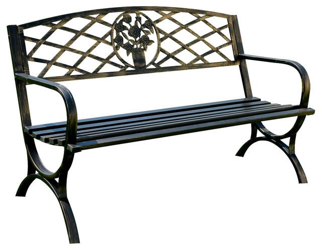 Peachy Outdoor Metal Patio Bench Bronze Bralicious Painted Fabric Chair Ideas Braliciousco