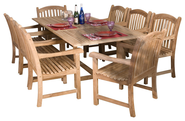 Newcastle 9 Piece Teak Extendable Patio Set Craftsman Outdoor Dining Sets