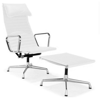 Aluminum Ribbed High Back Leather Lounge Chair And Ottoman, White Leather.