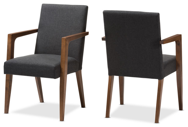 Andrea Mid-Century Modern Dark Gray Upholstered Wooden Armchair, Set Of 2.