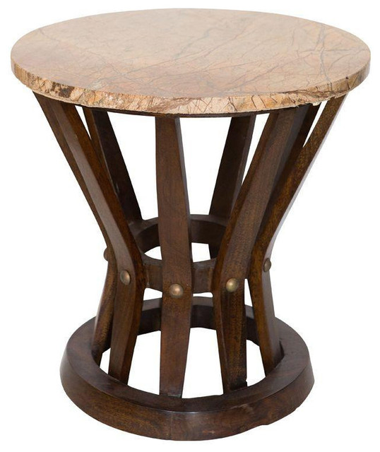 Round wood side table with brown marble top 850 est for Table 850 wood