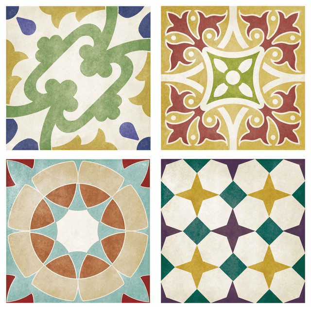 Set of 12 Coloured Decors and 4-Design Wall and Floor Tile, 1 sqm
