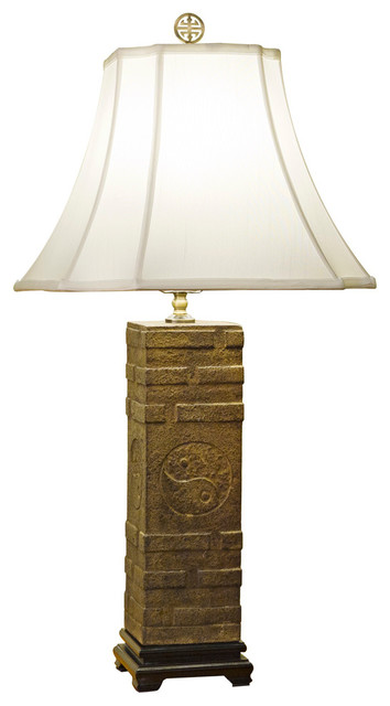 Yin Yang Stone Table Lamp With Shade Asian Table Lamps