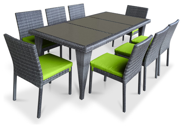 Urban Furnishing Wicker Outdoor Patio Dining Set, 9-Piece, Lime Green.