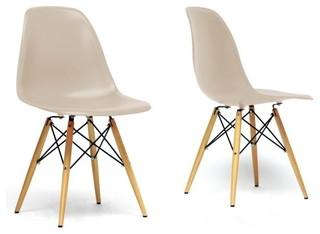 Baxton Studio Azzo Beige Plastic Mid-Century Modern Shell Chair, Set of 2