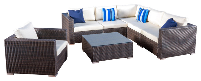 Francisco Outdoor Wicker Seating Sectional With Cushions, Brown 7-Piece Set