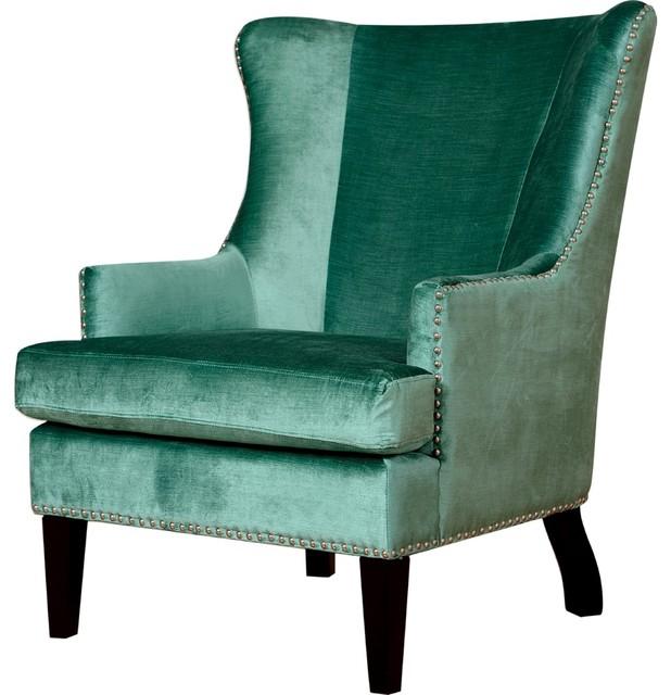 Otis Velvet Wing Armchair Turquoise Transitional