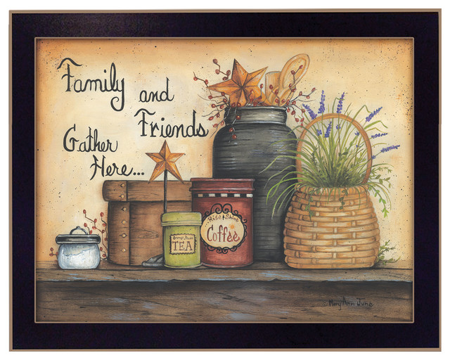 """""""family And Friends"""" By Mary June, Printed Wall Art, Ready To Hang, Black Frame."""