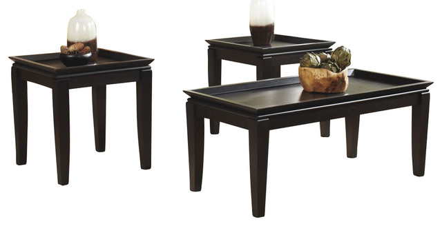 Delormy 3 Piece Occasional Table Set, Black.