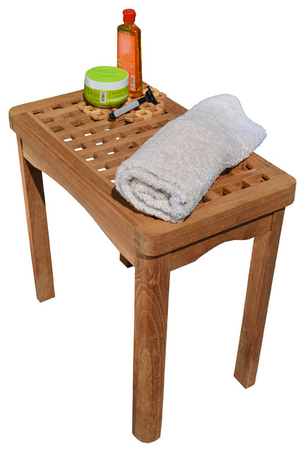 Teak Bath Stool, Side Table, Shower Bench - Contemporary - Shower ...