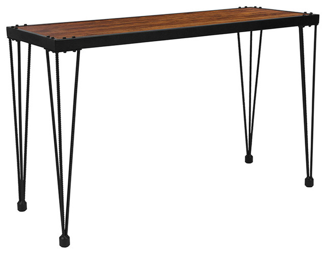 Baldwin Rustic Walnut Burl Wood Grain Finish Console Table With Black Metal Legs.