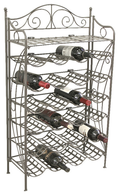 Iron 24-Bottle Wine Rack, Rustic Brown.