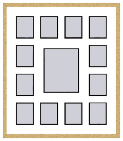 gold collage picture frame with 1 8x10 and 12 4x5 openings transitional picture frames by frames by mail gold collage picture frame with 1 8x10 and 12 4x5 openings