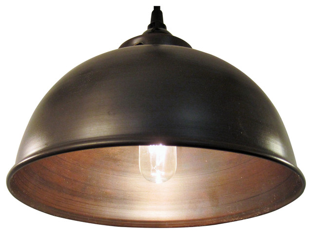 Metal Oil Rubbed Bronze Dome Pendant Light Industrial