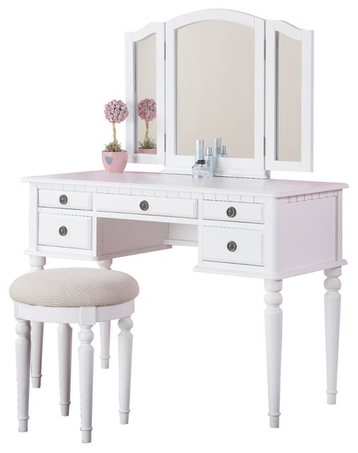 3 Piece Bedroom Vanity Set, Table, Mirror, Stool, White Traditional