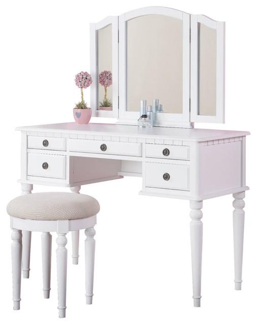 3-Piece Bedroom Vanity Set, Table, Mirror, Stool - Traditional ...