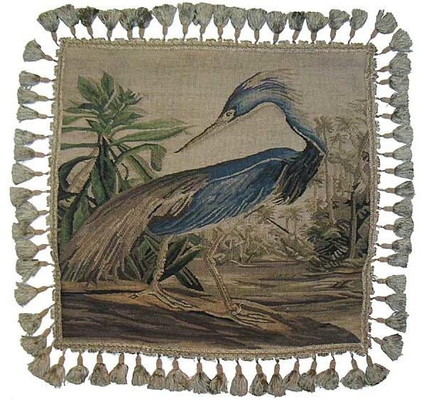 "Aubusson Blue Heron Pillow, 22""x22""."