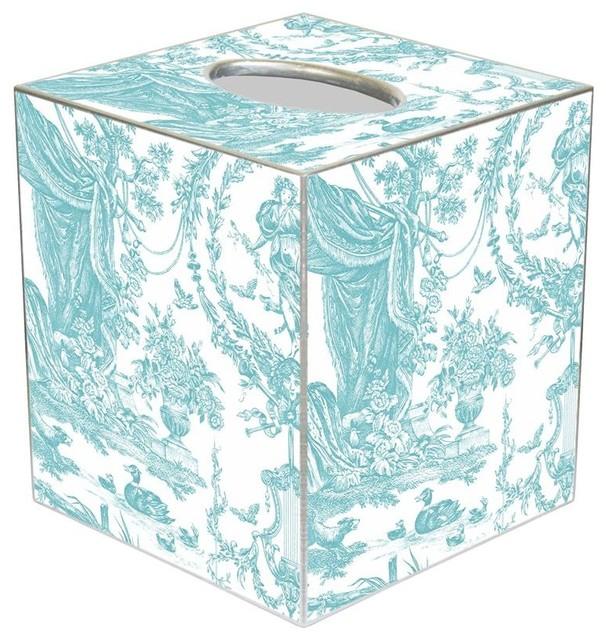Tb1494 Aqua Toile Tissue Box Cover