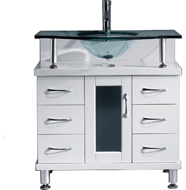 """Vincente 32"""" Single Bathroom Vanity Set White, Clear Tempered Glass Top."""