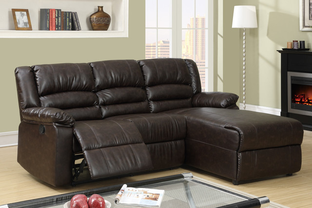 Small Coffee Leather Reclining Sectional Sofa Recliner Right Chaise modern- sectional-sofas : modern sectional with recliner - Sectionals, Sofas & Couches