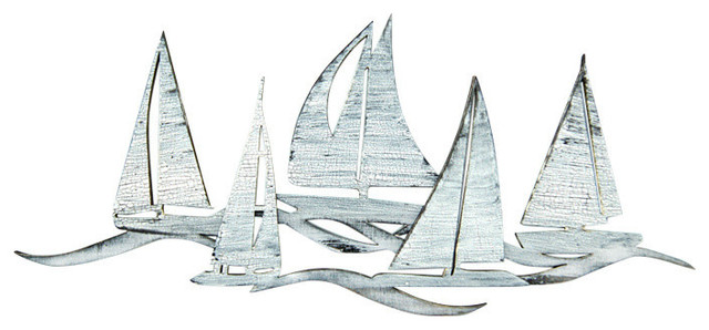 Sailing Fleet Costal, Wooden Wall Decorative Art, Small.