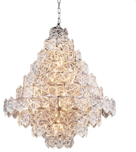 "Glass Chandelier, Eichholtz Hermitage, L, Silver, 32""x32""x36"""