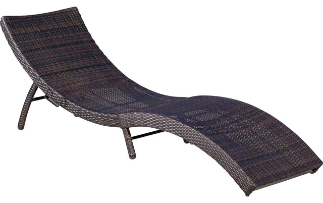 Maureen Outdoor Wicker Folding Chaise Lounge Chair Mixed Brown Contemporar